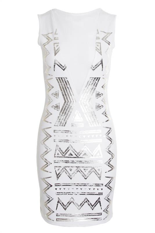 Ladies Sleeveless Mesh V-Neck Insert Gold Foil Aztec Women's Bodycon Dress