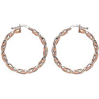 Bella 25mm Twisted Hoop Earrings - Rose Gold