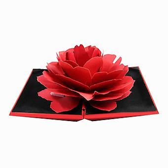 Ringask with 3D rose in papers-Red