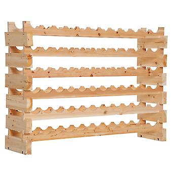 HOMCOM Wooden Wine Rack 6 Tier Shelf for 72 Bottles Shelving Storage Holder