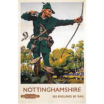 Nottinghamshire (old rail ad.) mounted print for framing