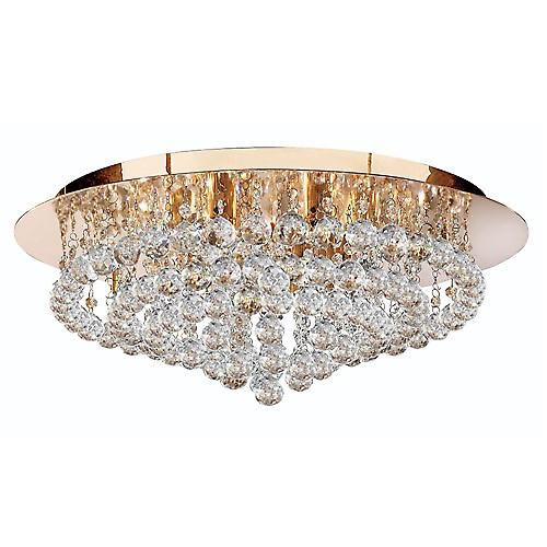 Searchlight 3408-8GO Hanna Traditional Gold Crystal Flush 8 Light With Round Drops