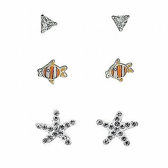 TOC Sterling Silver Clear Triangle Rhinestone  Fish & Starfish Studs - 3 Pairs