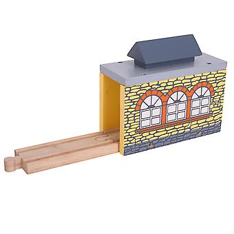 Bigjigs Rail Wooden Single Through Shed Train Track Railway Accessories