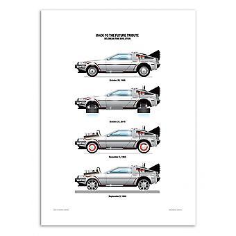 Art-Poster - DeLorean DMC-12 - Olivier Bourdereau 50 x 70 cm