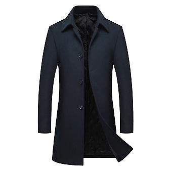 Allthemen Mens Casual Slim Fit Thick Knit Wool Trench Coat Black