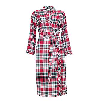 Cyberjammies 3856 Women's Holly Red Check Dressing Gown Loungewear Bath Robe Robe