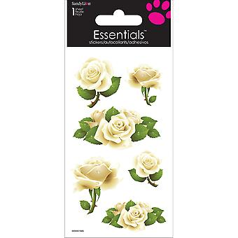 Essentials Stickers fait main 2 « X 6 » feuilles Roses blanches Sc0079