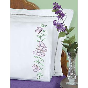 Stamped Pillowcases With White Lace Edge 2 Pkg Butterflies 1800 307