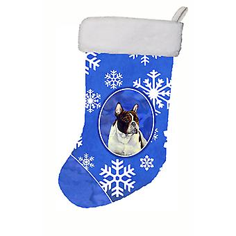 Franse Bulldog Winter sneeuwvlokken sneeuwvlokken Holiday Christmas Stocking LH9292