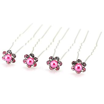 Bridal Silver Crystal Pink Pearl Daisy Flower Hair Pins