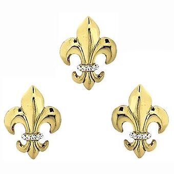 Butler & Wilson Fleur De Lis Cufflinks & Clutch Pin Set - Gold