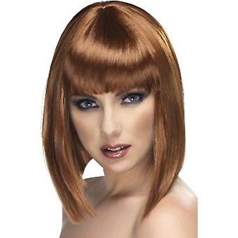 Smiffys Glam Wig Brown Short Blunt With Fringe (Costumes)