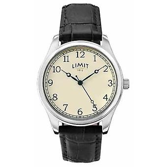 Limit Mens Black Leather Strap Cream Dial 5631 Watch