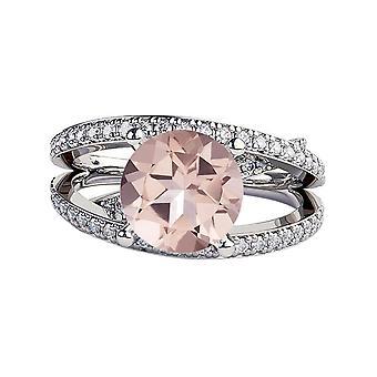 Natural peach/pink 3.90 CTW VS Morganite Ring with Diamonds White Gold 14K Princess  Unique