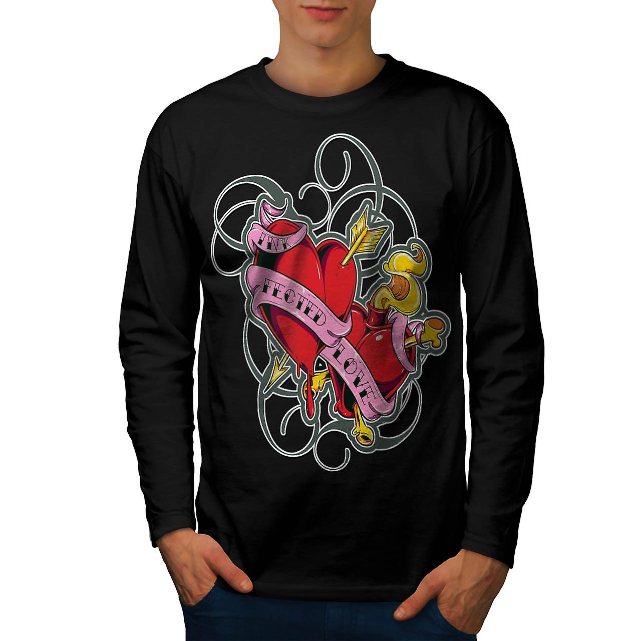 Infected Ink Love Tattoo Design Men Black Long Sleeve T-shirt | Wellcoda