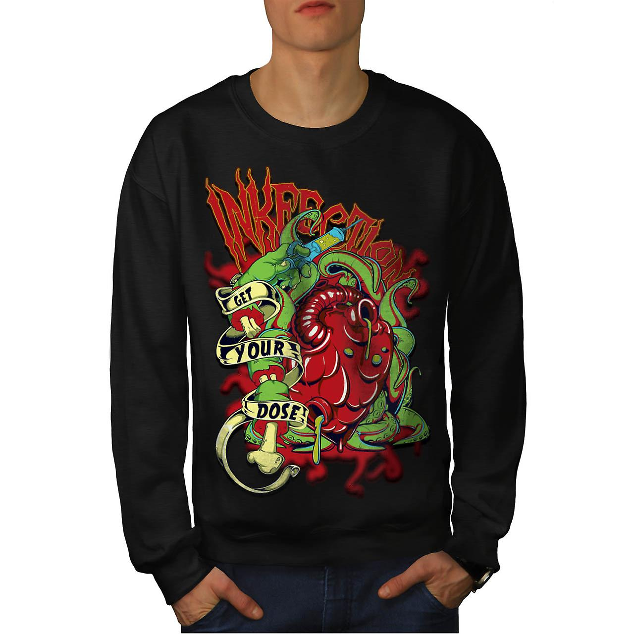 Ink Infection Tattoo Death Dose Men Black Sweatshirt | Wellcoda