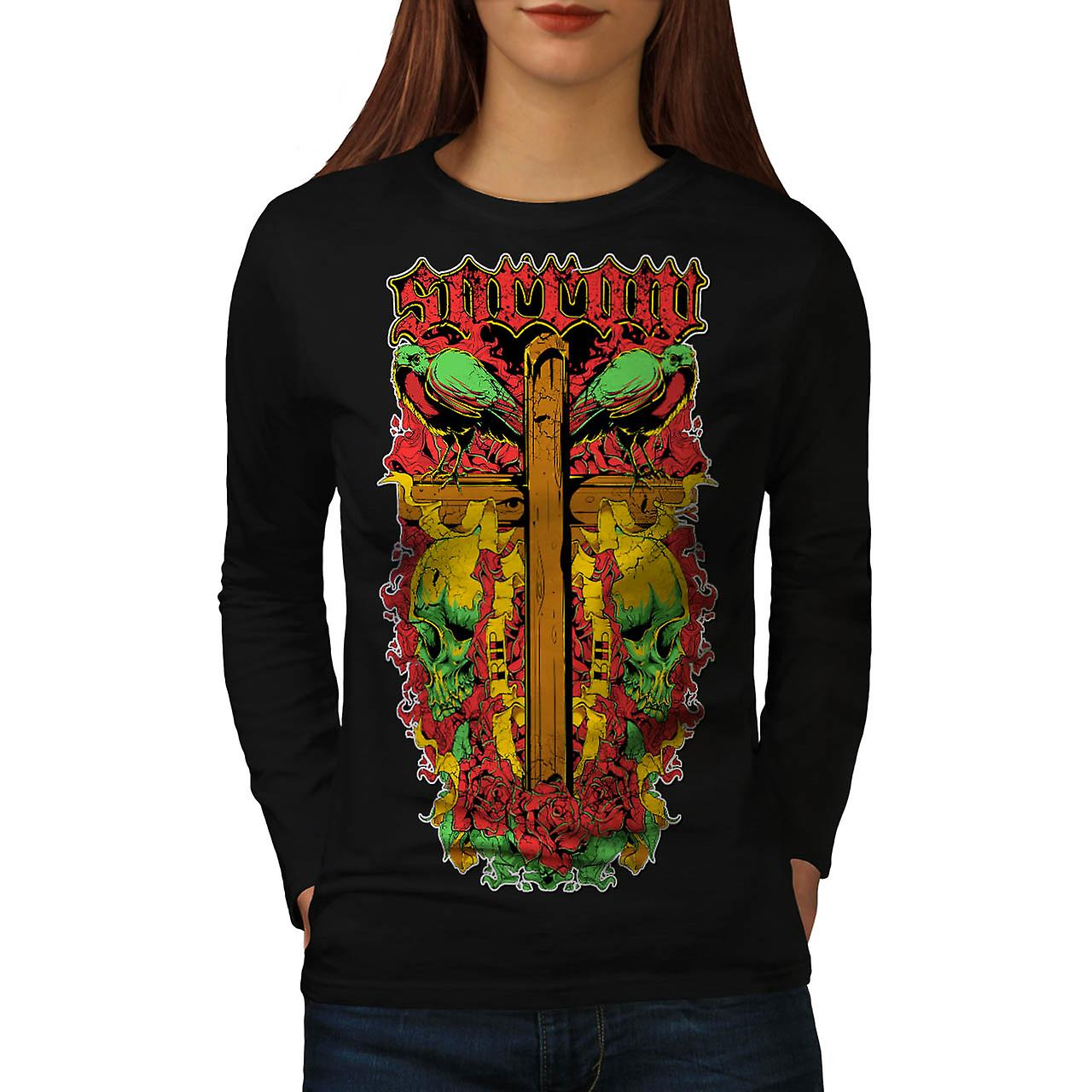 Die Sorrow Grave Yard Tomb Stone Women Black Long Sleeve T-shirt | Wellcoda