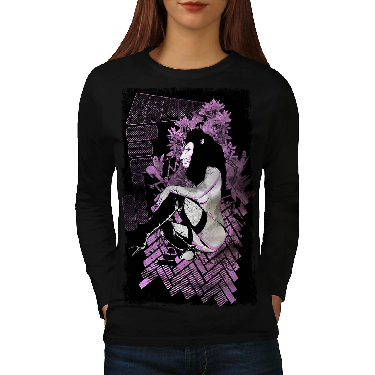Tease Queen Lion Mask Wild Girl Women Black Long Sleeve T-shirt | Wellcoda