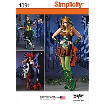 SIMPLICITY MISSES' SUPER VILLAINESS COSTUMES-6-8-10-12-14 US1091H5