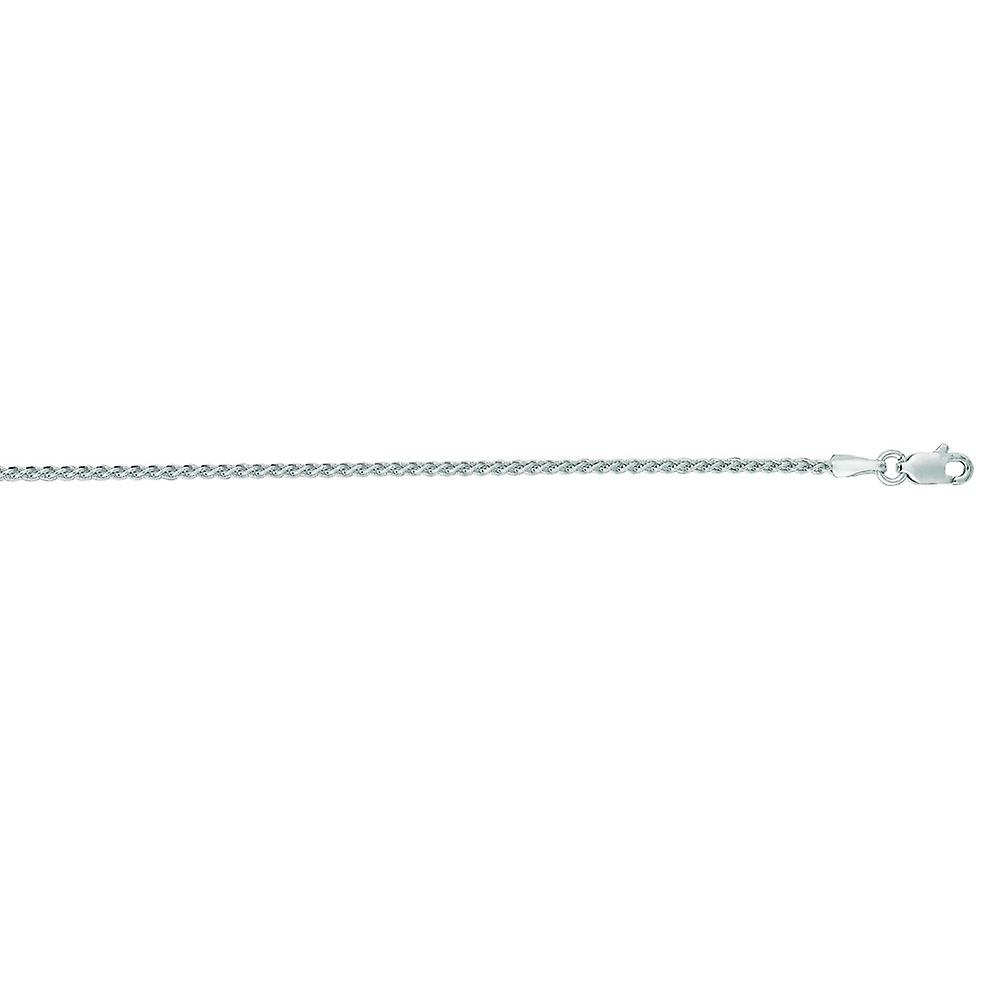 14k blanc or 1.5mm Round Wheat chaîne With Lobster Clasp collier - longueur  16 to 30