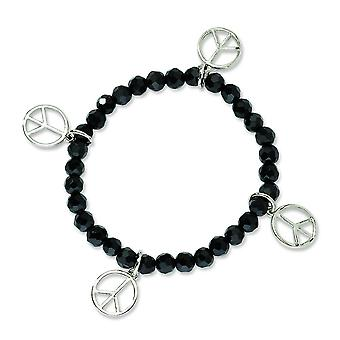 Silver-tone Peace Charms Black Crystal Beaded Stretch Bracelet