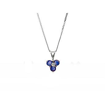 9ct White Gold 0.44ct Sapphire & Diamond Cluster Pendant on Chain