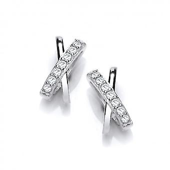 Cavendish French Sikver and Cubic Zirconia Kiss Earrings