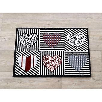 Floor mats hearts black white red 50 x 70 cm. 101921