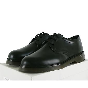 Mens Grafters Uniform Black Leather Lace Up Air Cushioned Sole Shoes Sizes 6-12