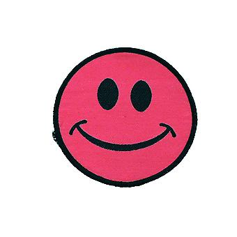 Pink Smiley Woven Patch