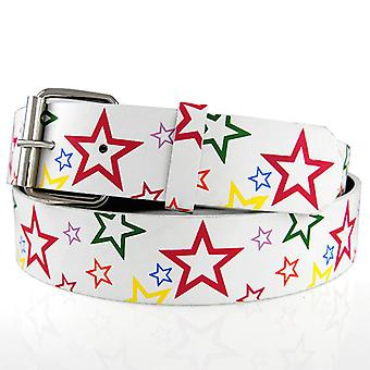 Hip hop fashion belt - MULTI STARS white