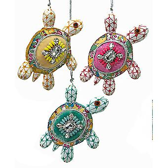 Pirouette Turtles Yellow Pink Teal Christmas Holiday Ornaments Set of 3