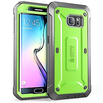 Supcase Unicorn Beetle Pro Full-body Rugged Holster Case with Built-in Screen Proctor Samsung Galaxy S6 Edge-Green/Gray