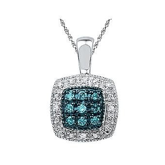 Blue and White Diamond Pendant 1/10 Carat (ctw) in Sterling Silver with Chain