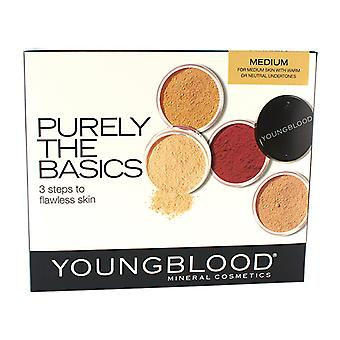 Youngblood rent grundlæggende Kit - #Medium (2xFoundation, 1xMineral Blush, 1xSetting pulver, 1xBrush, 1xMineral pulver) 6stk