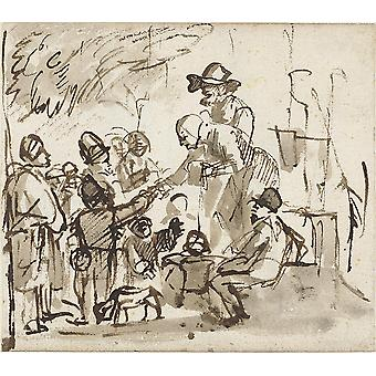 Carel Fabritius - Group of People Sketch Poster Print Giclee