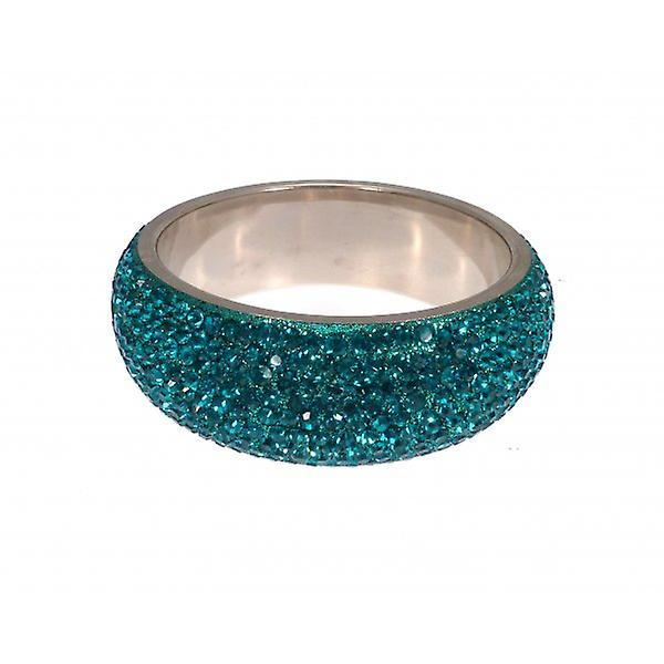 W.A.T Chunky Crystal Bangle Teal Blue Crystals