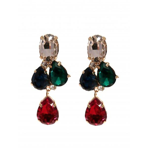W.A.T Multi Coloured Teardrop Shaped Crystal Earrings