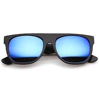 Moderne Super fladskærms-Top hele templet farvet spejl linse Horn kantede solbriller 55mm