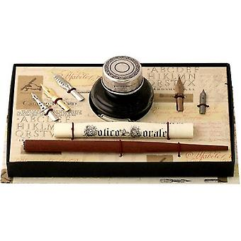 Coles Calligraphy Wood Pen with Pewter Ink Bottle and 5 Nibs Set