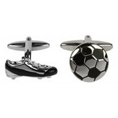 David Van Hagen Football and Boot Cufflinks - Silver/Black