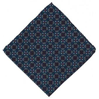 Michelsons of London Bold Medallion Silk Pocket Square - Teal