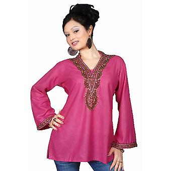 Pink long sleeves Kurti/Tunic with beads and stone work