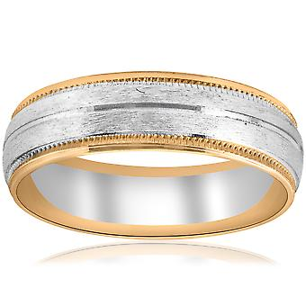 Gold Two Tone 6mm Facet Cut Wedding Band Mens New Ring