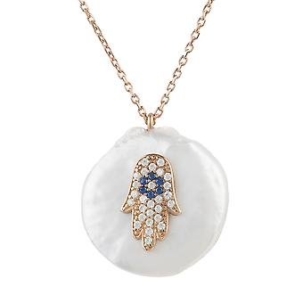 Pearl and Hamsa Necklace Rosegold