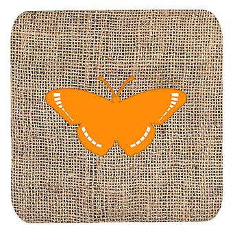 Carolines Treasures  BB1038-BL-OR-FC Set of 4 Butterfly Burlap and Orange Foam C