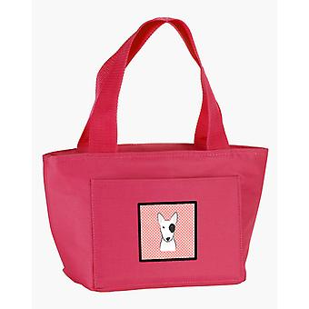 Carolines Treasures  BB1209PK-8808 Checkerboard Pink Bull Terrier Lunch Bag