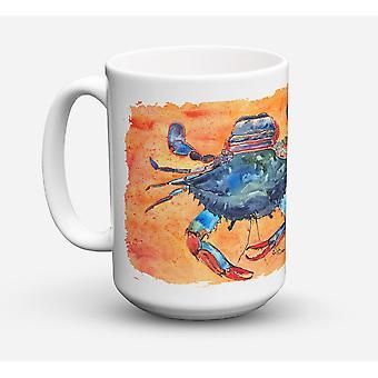 Krabba diskmaskin säkra mikrovågssäker keramisk kaffe Mugg 15 uns
