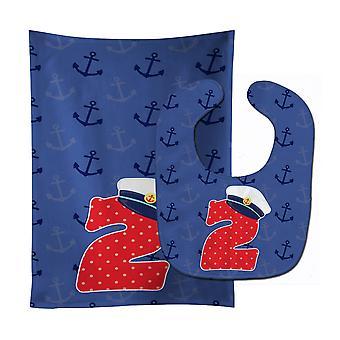Carolines Treasures  BB8873STBU Nautical Month 2 Baby Bib & Burp Cloth